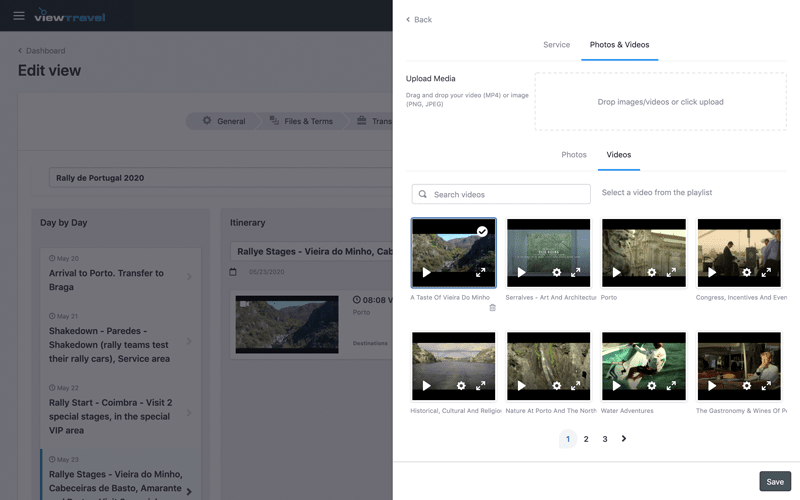 Easily upload videos to your travel itinerary
